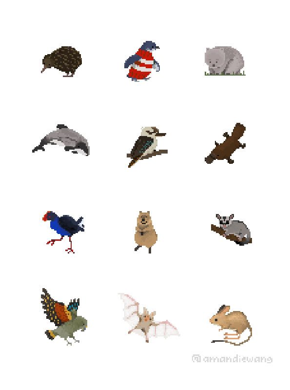 Pixel art icons of animals from Australia, New Zealand and the Pacific islands