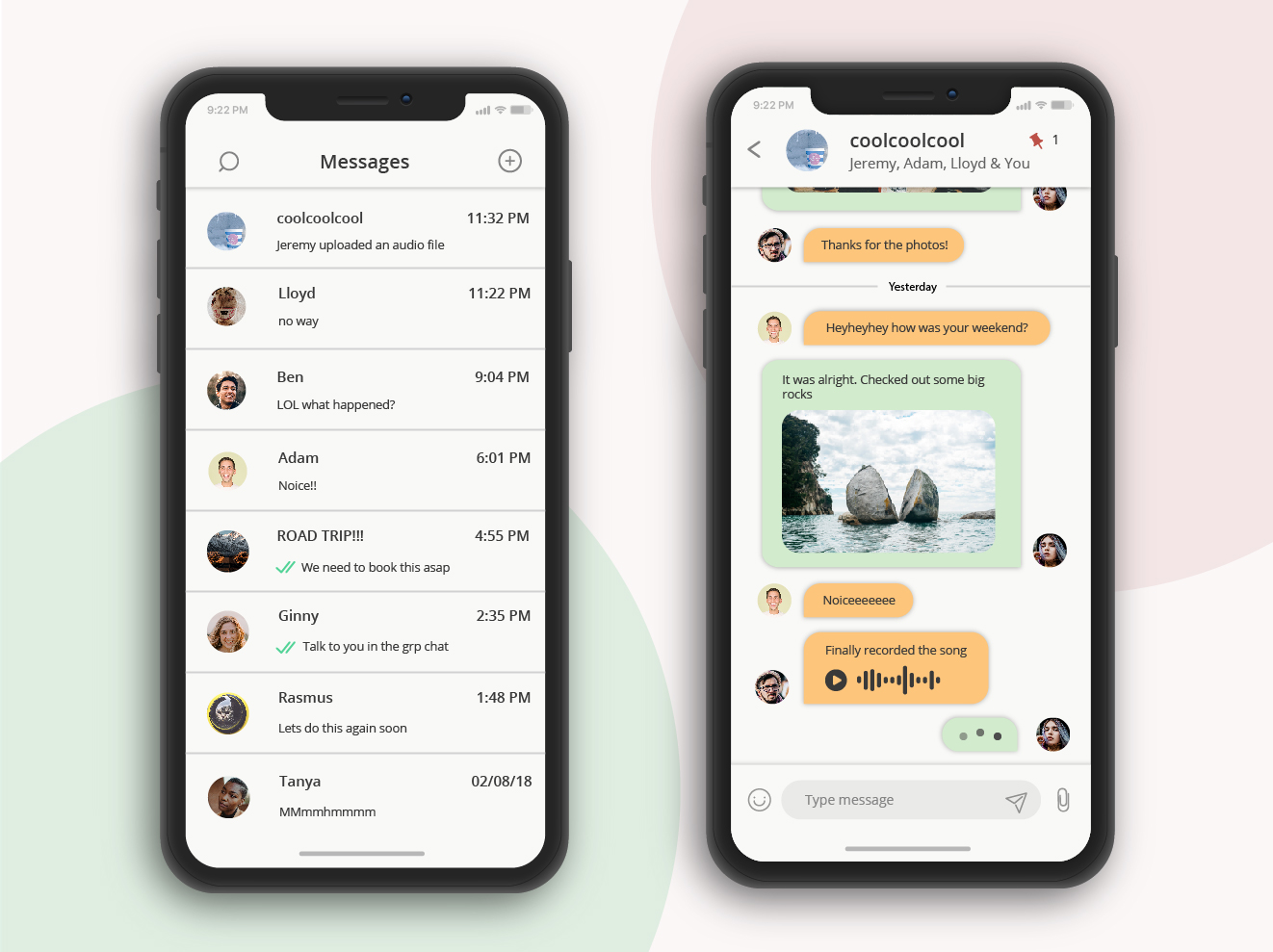 Direct messaging chat UI for a mobile application