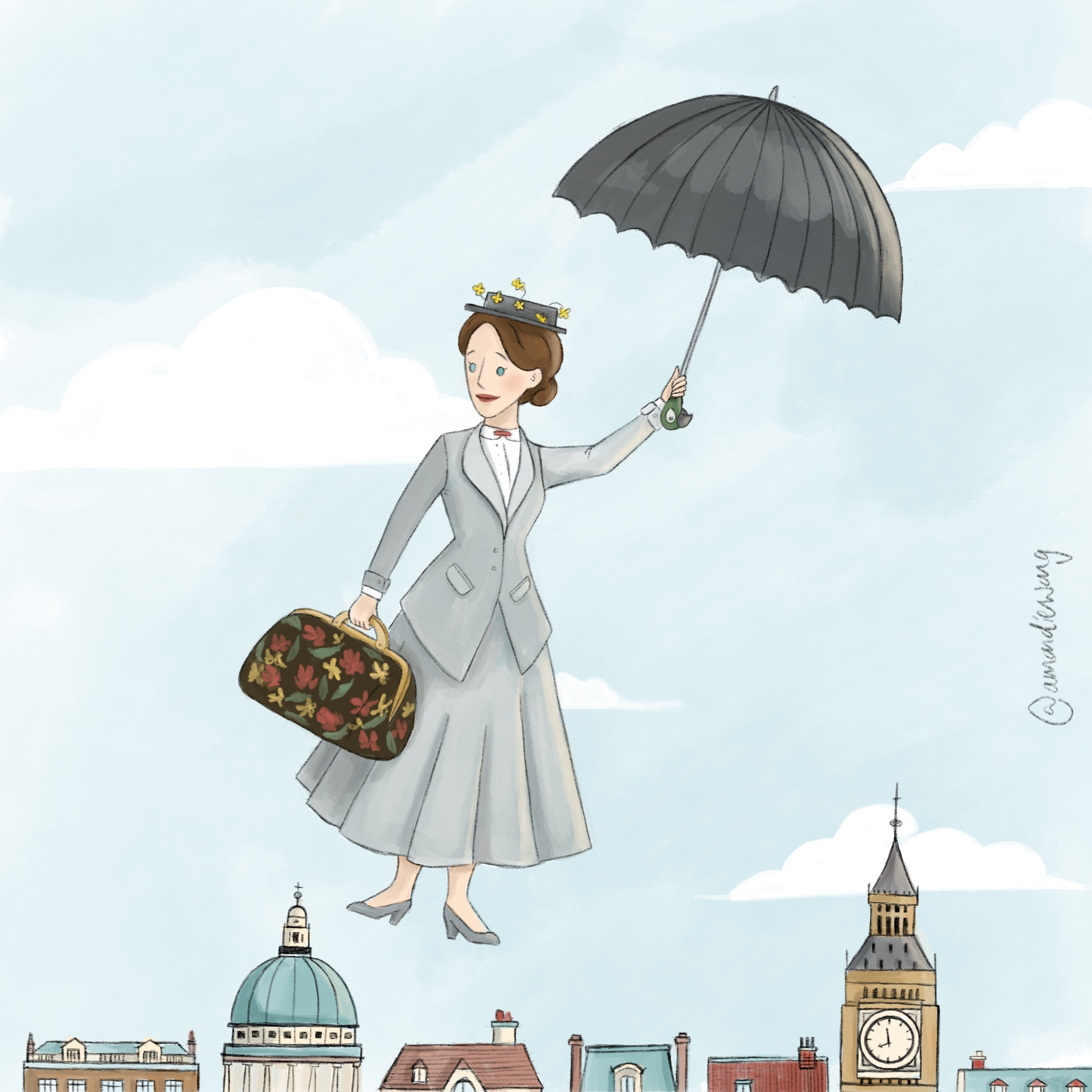 Illustration of Mary Poppins floating over London city